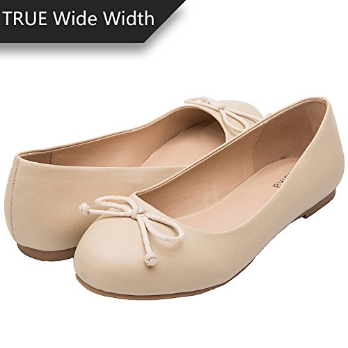 5bc8dd763df Luoika Women s Wide Width Flat Shoes - Elastic Cross Straps Slip On Round  Toe Ballet Flats.