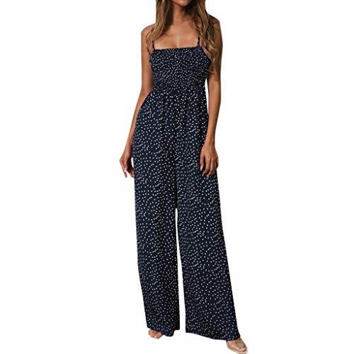 (Youmymine Women Sleeveless Dresses Sunflower Dot Print Jumpsuit Wide Leg Pant Spot Outfit Beach Dress)