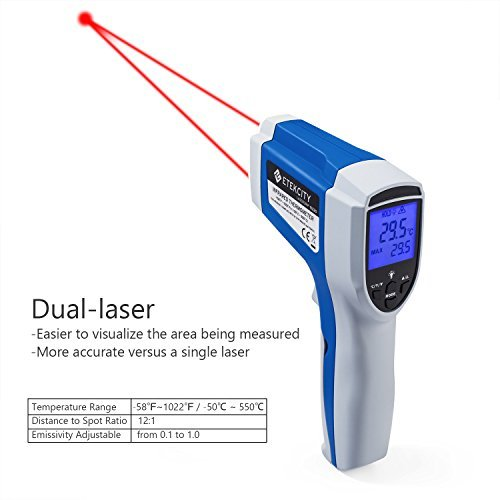 Etekcity Lasergrip 1022D Dual Laser Infrared Thermometer -58℉~1022℉( -50℃ ~ 550℃) with Adjustable Emissivity, Temperature Unit & MAX Display Function, Blue (Certified Refurbished)