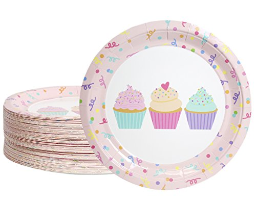 Disposable Plates - 80-Count Paper Plates, Cupcake Party Supplies for Appetizer, Lunch, Dinner, and Dessert, Cupcake and Confetti Design, 9 inches in Diameter]()