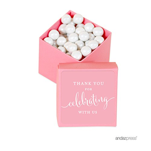 Baby Shower Treat Box (Andaz Press Mini Square Party Favor Box DIY Kit, Thank You for Celebrating With Us, Pink, 20-Pack, For Baby Shower, Birthday, Wedding Party Favors, Decorations)