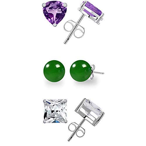 11.55 Ct Green Ball Shape Onyx, Amethyst And Cubic Zirconia 925 Sterling Silver Multi Pack Stud Earrings For Women: Nickel Free Cute And Simple Birthday Gift For Sister: Birthstone Month-February