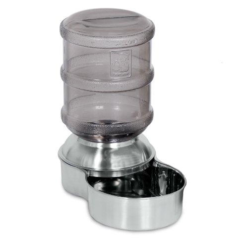 Stainless Steel Pet Fountain (Petmate Stainless Steel Replendish Pet Waterer With Water Bottle and Steel Base, Small)
