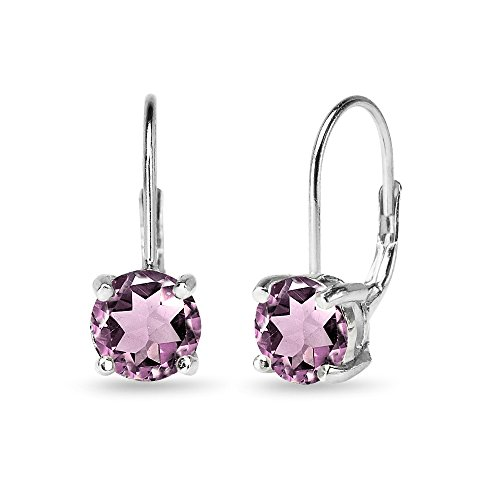 Sterling Silver Polished Simulated Alexandrite 7mm Round Dainty Leverback Earrings