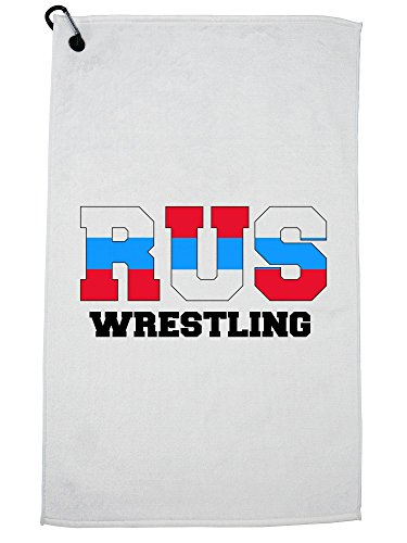 Hollywood Thread Russia Wrestling - Olympic Games - Rio - Flag Golf Towel with Carabiner Clip by Hollywood Thread