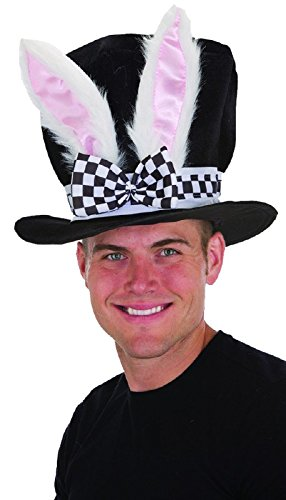 Jacobson Hat Company Men's Velvet Bunny Ear Top Hat with Checkered Bow Tie, Black, -