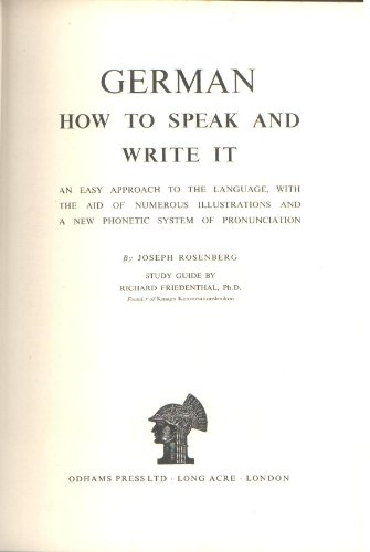 German: how to speak and write it (New educational library)
