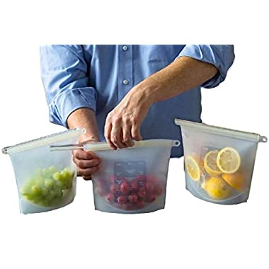 Silicone Slide n' Save Reusable Storage Bags, Clear Reusable Food Grade Silicone, Eco Friendly and BPA Free, Ideal for Storage and Freezer food (3-pack), Airtight and Leak Proof, Great for hot cooking