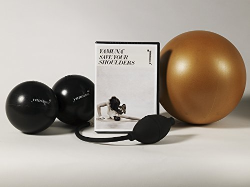 Yamuna Body Rolling Save Your Shoulders Kit - Yamuna Gold Ball, 2 ''Calf'' Balls, Yamuna pump, Yamuna Save Your Shoulders DVD - Manage and Relieve Neck and Shoulder Pain!