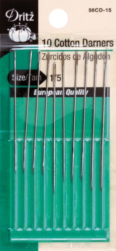 Darners Hand Needles (Dritz 10-Piece Cotton Darners Hand Needles, Size 1/5)