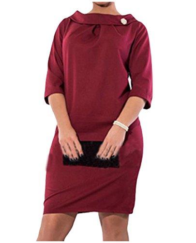 Confortables Femmes Taille Plus De Vin Mince Robe En Forme De Partie De Couleur Unie À Manches Longues Rouge