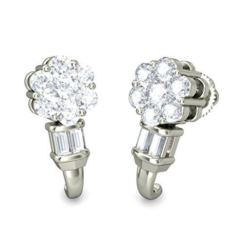 Or blanc 14K 0,66CT TW Round-cut-diamond (IJ | SI) Boucles d'oreilles créoles