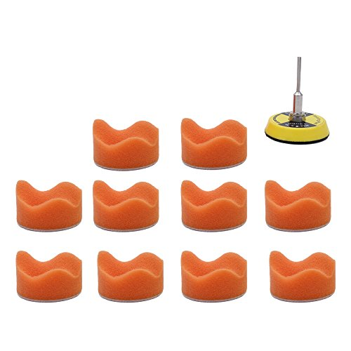 AUTOTOOLHOME 11pc Almohadilla de pulido de esponja ondulada de 2 pulgadas con placa de respaldo de pulido Kit de herramientas Kit de pulido de espuma para el automóvil Kit de pulido de espuma para automóvil