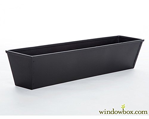 24in. Galvanized Tapered Window Box - Powder Coated Black by Windowbox.com