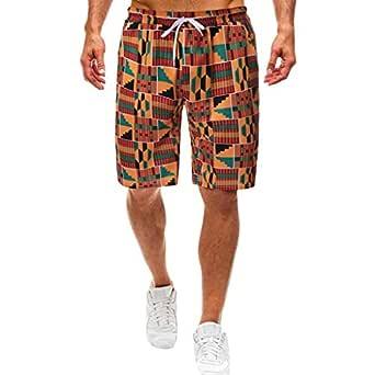 YEBIRAL Pantalones Cortos Hombre, Estampado de Africa Cintura ...