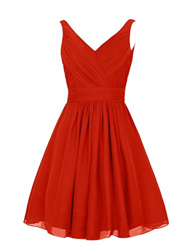 Double Party Dress Dress Dreagel V Prom Short Neck Ruched for Bridesmaid Red UOFOwxfABq