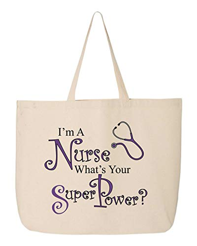 BeeGeeTees I'm A Nurse What's Your Super Power Funny Tote Nursing Cloth Shopping Canvas Book Bag Book (Jumbo 20