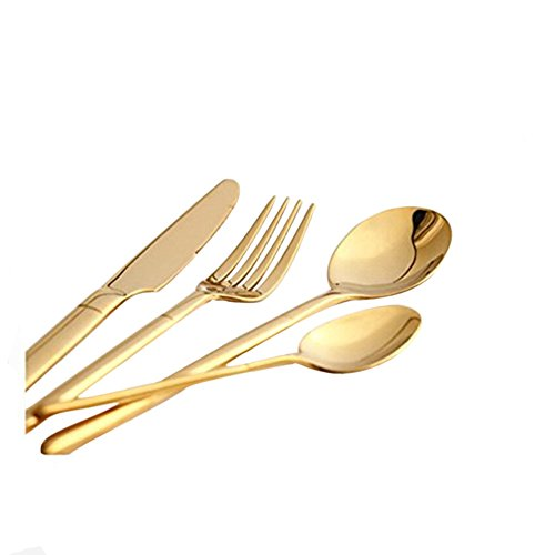 Jinsen Flatware set includes dinner knife, dinner fork,dinner spoon and Teaspoon,Gold (Knife Modern Dinner Silverplate)