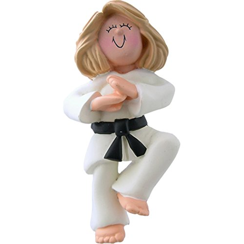 - Personalized Karate Girl Christmas Tree Ornament 2019 - Blonde Woman Athlete Belt Pose School Judo Teacher Hobby Child Kid Grand-Daughter Kick - Free Customization (Yellow Hair Female)
