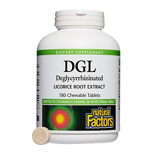Natural Factors, DGL Licorice Root Chewable, Promotes a Healthy Stomach Lining and Intestinal Wall, 180 tablets (180 servings) ()