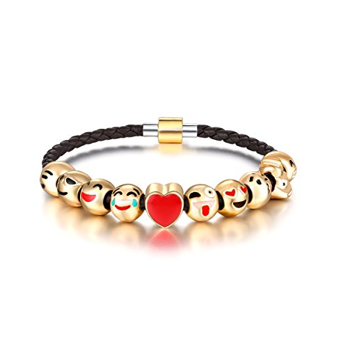 Eccosa Animals Faces Charms Bracelets Magnetic with Clasp Black Leather Rope Chain Bangle for Women