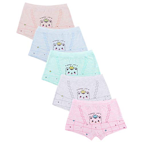 Girls' Cat Panties Assorted Boyshort Cartoon Panty (Pack of 5) Colors May Vary ()