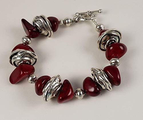 Cranberry Chunky Gemstone & Pewter Designer Beaded Bracelet