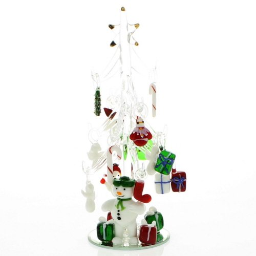 (Mini Crystal Christmas Tree with Snowman and 15 Hand Blown Ornaments )