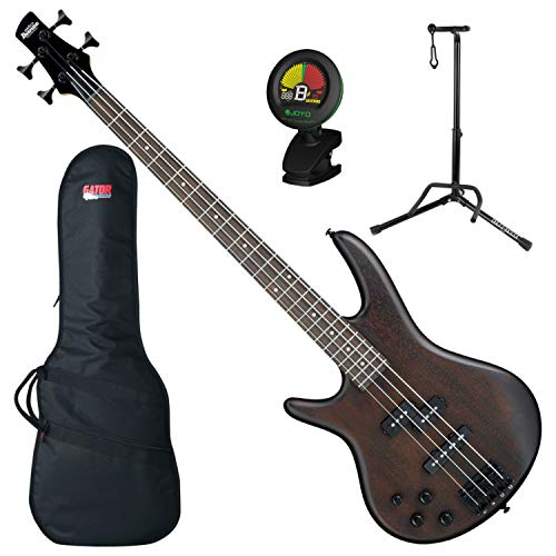 Ibanez GSR200BLWNF LEFT-HANDED 4 String Electric Bass (Walnut Flat) w/ Gig Bag, Tuner, and Stand (Stand Ibanez)