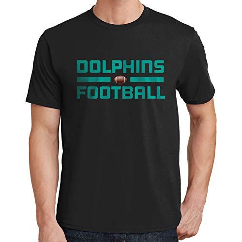 Bluejack Clothing Dolphins Football Mens T-Shirt Miami Sports Team 3282 (4X-Large,Black)