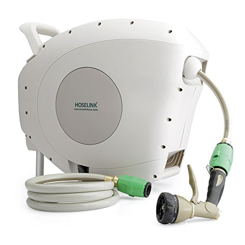 HOSELINK Automatic Retractable Garden Hose Reel with 7-Function Spray Gun, 82-Feet