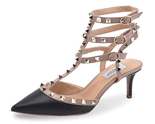 WSKEISP Womens Pointed Toe Slingback Kitten Heel Studded Strappy Sandals T-Strap Bridal Party Prom Shoes Black Beige Dull PU EU41