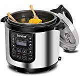 Zenchef 14-in-1 NEWEST 6 Qt Multifunctional Stainless Steel Electric Pressure Cooker 1000W w/LED Display Screen, Slow Cooker, Rice Cooker, Sauté, Steamer, Yogurt Maker & Food Warmer (Upgraded)