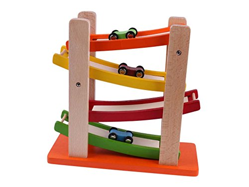 Pre Schooler Games Educational Toys Toddler Racetrack Set Ramp Racer Wooden Toy Colorful Educational Toys Under 18 Months Early Learning 3 Small Wood Cars Vehicle Playsets Kids 4 Level Ramp & (Ramp Racer)