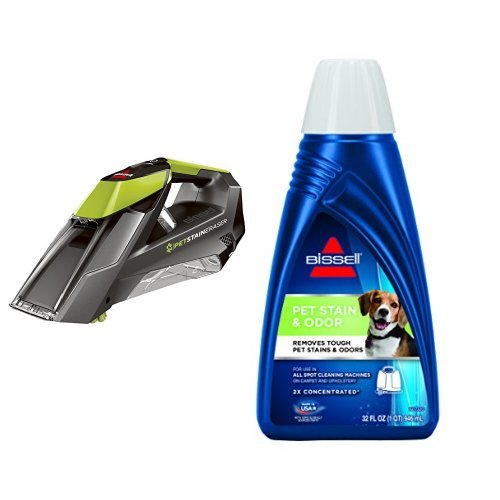 Bissell Pet Stain Remover (Bissell Pet Stain Eraser Cordless Portable Carpet Cleaner & BISSELL 2X Pet Stain & Odor Portable Machine Formula, 32 ounces, 74R7)