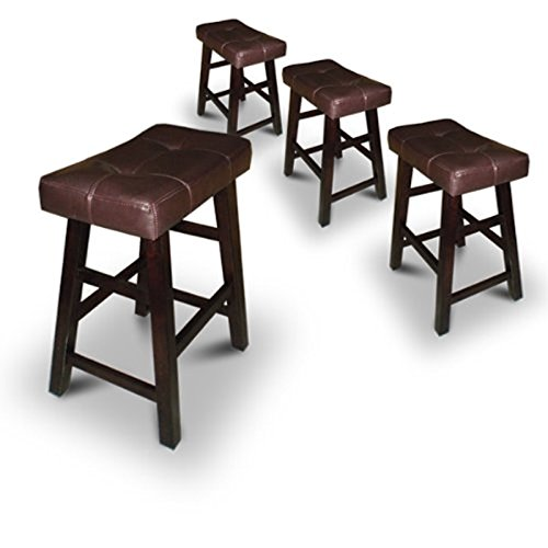 4 29'' Dark Espresso Wood Bar Stools with Bonded Faux Leather Seat by Legacy Decor