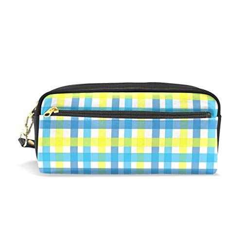 - Dragon Sword Gingham-Plaid-Yellow-Aqua-Blue-1525372 Cute Pencil Case for Kids Girls Boys,School Student Office Stationery Organizer,Travel Pen Pencil Pouch Cosmetic Bag Makeup Bag