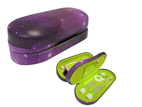Dual Glasses and Contacts Case - Double Sided 2 in 1 Clamshell Hard Case for Eyeglasses and Contact Lenses with Mirror - Purple Galaxy Print with Matte Finish - By OptiPlix (Contact Lens Case Travel)