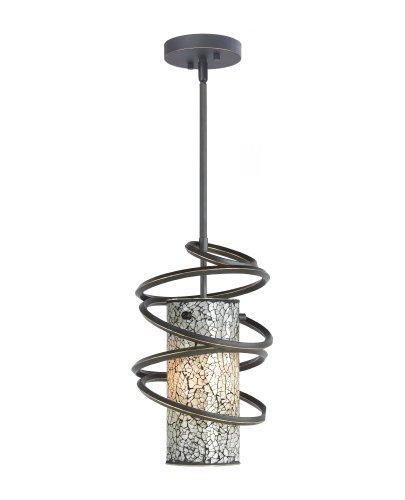 Woodbridge Lighting 12523BLK-M10WHT Loop 1-Light Mini-Pendant, 8-1 2-Inch by 50-Inch, Black