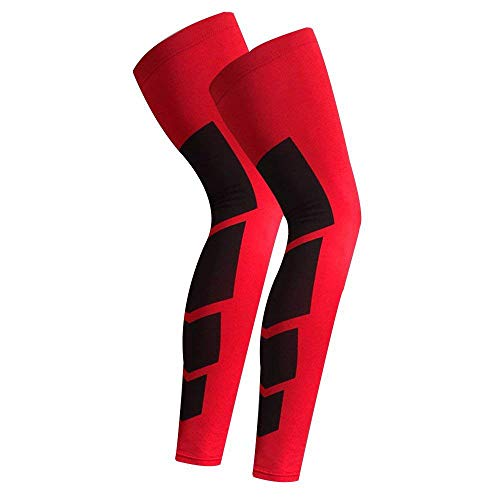 - CROSS1946 Sports Non Slip Basketball Compression Leg Sleeves Full Length Stretch Long Sleeve Knee Support Running Socks Calf Support Brace Protector Knee Football Shin Guard(1Pair)-Red & Black L