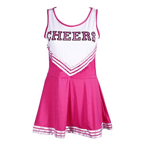 [Quesera Women's Cheerleader Costume Cheerleading Uniform Fancy Dress Cosplay Costume, Rose, M] (Cute Cheerleading Outfits)