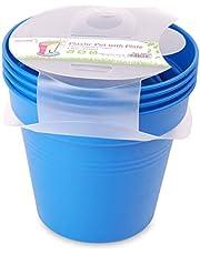 وعاء زرع بلاستيك بالطبق من مينترا، 17سم، عبوة 4، أزرق فاتح