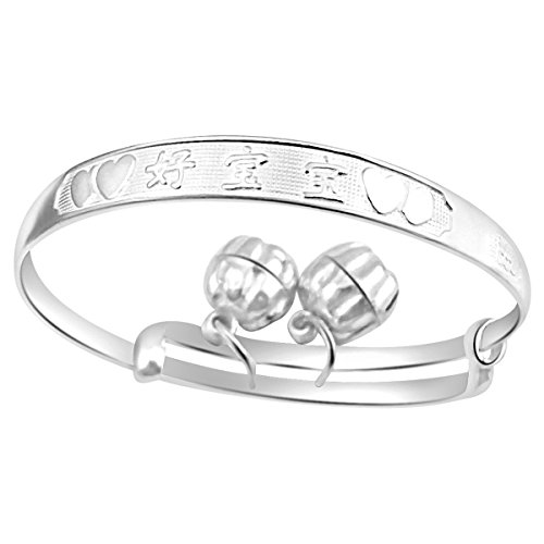 Pearls N Silver Solid Highly polished .925 Sterling Silver Baby Bracelet Bangle Engraved With Words