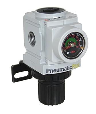 "PneumaticPlus PPR2-N02BG Miniature Compressed Air Pressure Regulator 1/4"" NPT - Embedded Gauge, Bracket from PneumaticPlus"