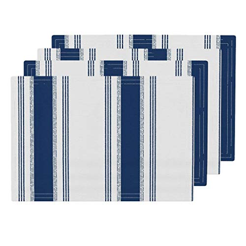 Promini Heat-Resistant Placemats, French Ticking in Marine Washable Polyester Table Mats Non Slip Washable Placemats for Kitchen Dining Room Set of 4]()