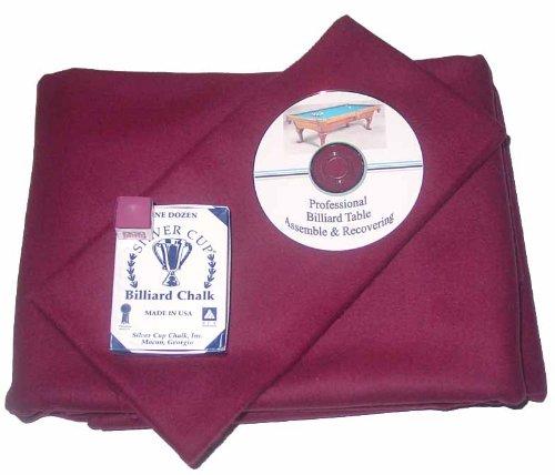 8 ' ProlineクラシックPrecutワインPool Tableフェルト布、DVD & Cueチョーク B00FFGL2PQ