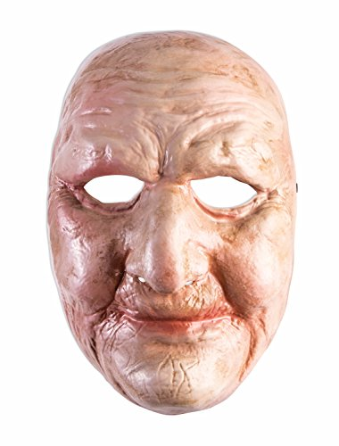 Full Front Face Mask Weathered Old Lady Man Chubby Wrinkled Accessory Costume