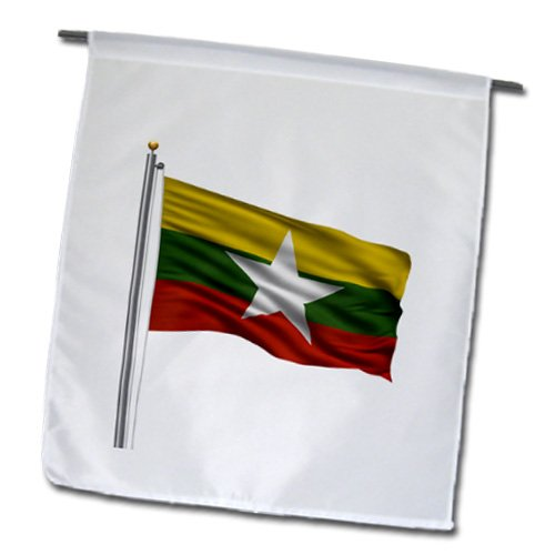 3dRose fl_157225_1 Flag of Myanmar on a Flag Pole Over White Myanma Burmese Garden Flag, 12 by (Burmese Rose)