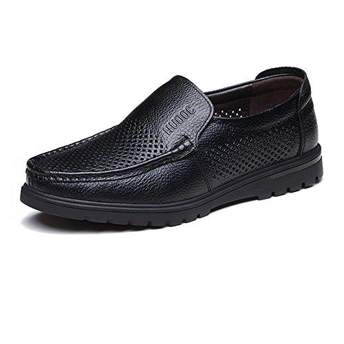 ZX Hommes Mocassins Chaussures, Cuir de Vache Véritable Supérieur Slip-sur Semelle Plate Mocassin pour Les Messieurs (Perforation en Option) Perforation Bk