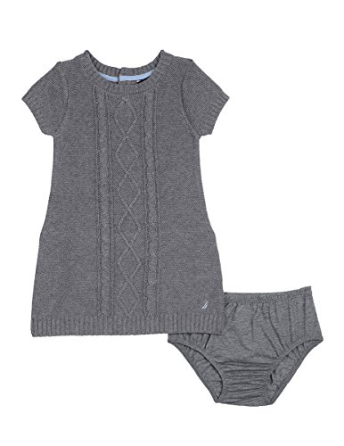 Nautica Baby Girls' Sweater Dress With Cable Detail, Medium Grey Heather, 12 - Dress Ruffle Knit Detail
